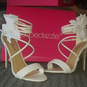 White summer heels, 3.5 inches